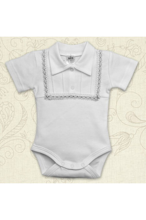 Боди для мальчика «Праздник» белого цвета с коротким рукавом