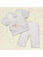 Костюм для крещения «Мини-босс-2» молочного цвета с коротким рукавом