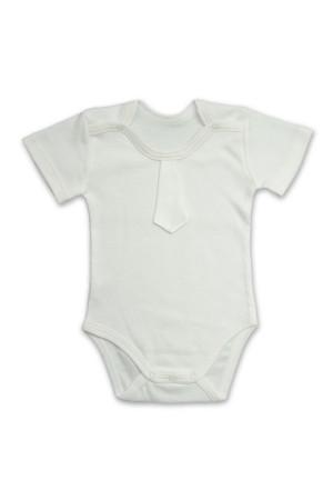 Боди для мальчика «Праздничный» молочного цвета с коротким рукавом