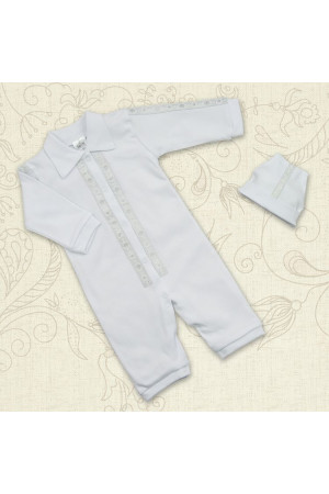 Комплект для хрещення «Тимофій» білого кольору з довгим рукавом