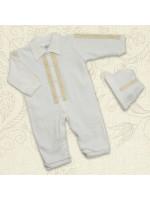 Комплект для хрещення «Тимофій» молочного кольору з довгим рукавом