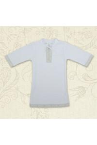 Сорочка для крещения «Кристиан-2» белая с серебристым