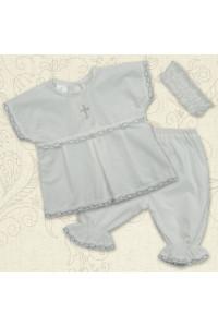 Костюм для хрещення «Свято» білий зі сріблястим