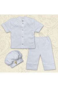 Костюм для крещения «Святик» белого цвета с коротким рукавом