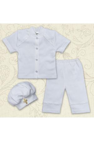 Костюм для хрещення «Святік» білого кольору з коротким рукавом