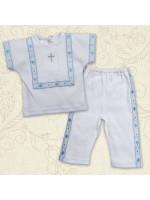 Костюм для крещения «Лучик» белый с голубым
