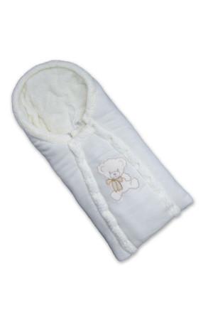 Зимовий конверт «Ведмедик» молочного кольору