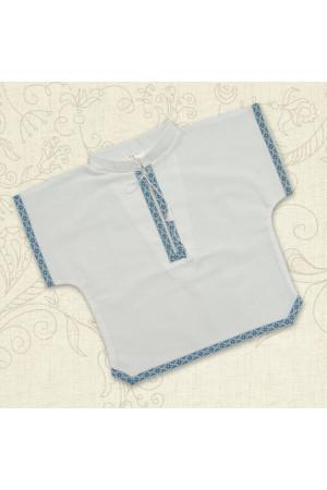 Сорочка для крещения «Украинская-2» белая с голубым