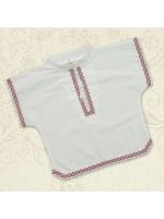 Сорочка для крещения «Украинская-2» белая с красным