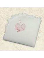 Одеяло «Коляска» с розовой вышивкой