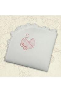 Ковдра «Колиска» з вишивкою рожевого кольору