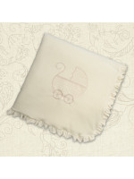 Одеяло «Коляска» с бежевой вышивкой