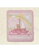 Ковдра «Малюк та вітрильник» рожевого кольору