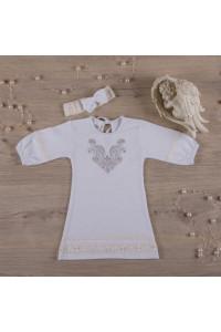 Сорочка для крещения «Очарование» белого цвета