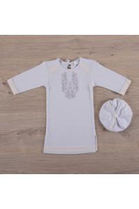 Сорочка для хрещення хлопчика «Чарівність» білого кольору