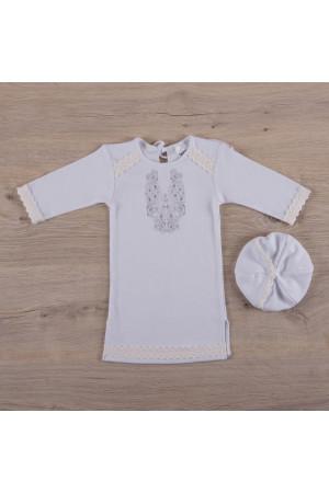 Сорочка для крещения мальчика «Очарование» белого цвета