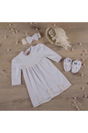 Комплект для крещения девочки «Гармония» белого цвета