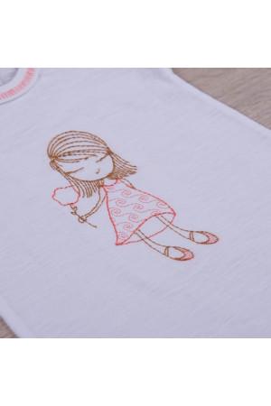 Песочник «Малышка» белого цвета с коралловой вышивкой