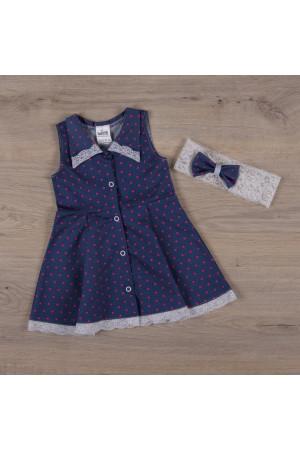 Платье «Джинсик» синего цвета малиновый горошек