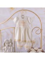 Костюм для хрещення дівчинки «Чарівний янгол» молочного кольору з коротким рукавом
