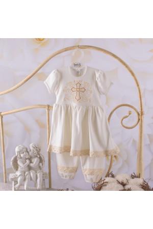 Костюм для крещения девочки «Волшебный ангел» молочного цвета с коротким рукавом