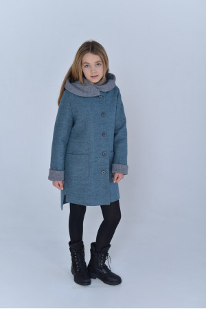 Детское пальто «Гардения» цвета полыни