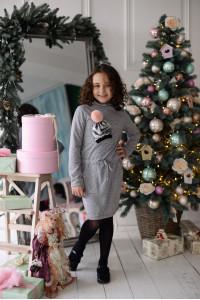 Платье «Помпончик» серого цвета