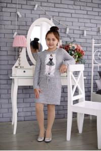 Платье «Кокетка» серого цвета