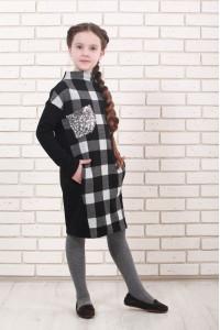 Платье «Пипин» черно-белого цвета