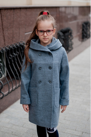 Дитяче пальто «Габі» сіро-блакитного кольору