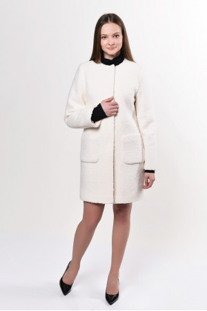 Женское пальто «Карно» молочного цвета