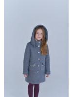 Детское пальто «Вайлет» серо-голубого цвета
