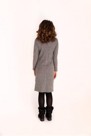 Платье «Тира» светло-серого цвета с белой полоской