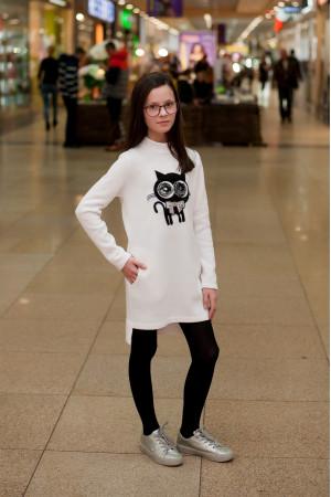 Платье «Киса» белого цвета