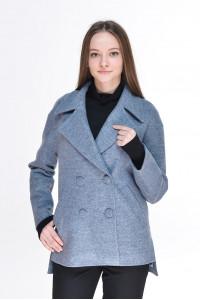 Жіноче пальто «Тамір» сіро-блакитного кольору