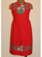 Платье для девочки «Ромашки и васильки» красное