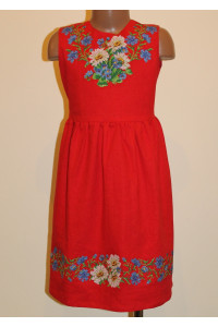 Сукня для дівчинки «Ромашки та волошки» червона