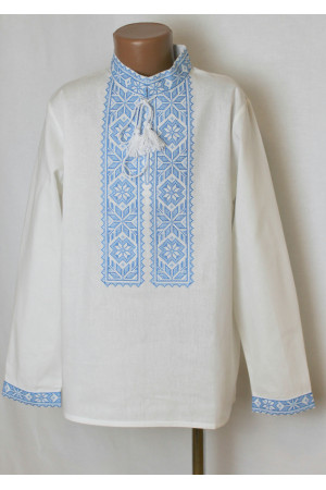 Вишиванка для хлопчика «Оберіг» з блакитним орнаментом