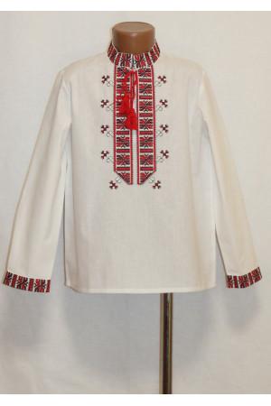 Вышиванка для мальчика «Полуботок» с вышивкой красного цвета