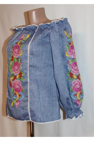 Вишиванка «Рожеві троянди» синього кольору