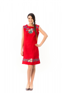 Платье «Ромашки» красного цвета