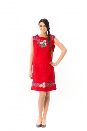 Сукня «Ромашки» червоного кольору