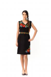 Платье «Панянка» на черном льне с коротким рукавом