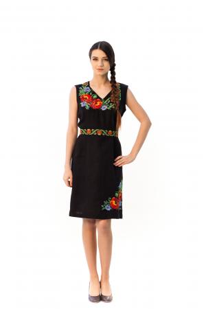 Сукня «Панянка» на чорному льоні з коротким рукавом
