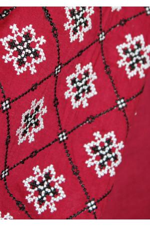 Вишиванка «Журавлина» бордового кольору