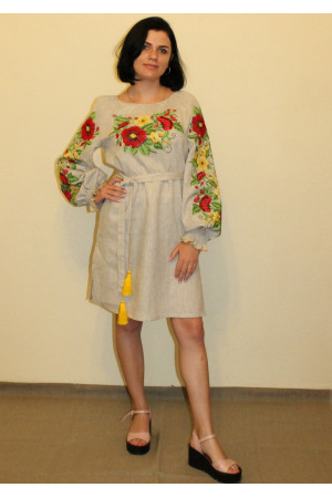Платье «Цветочное» бежевого цвета