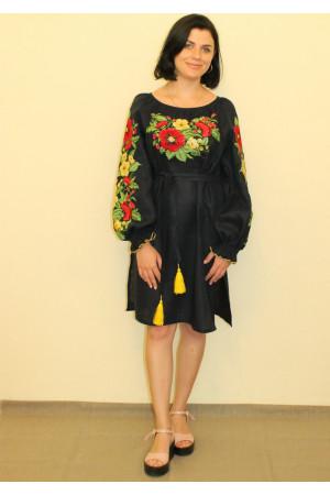 Платье «Цветочное» темно-синего цвета