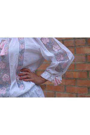 Вышиванка «Мережка» с розовой вышивкой