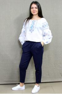 Вышиванка «Василина» белого цвета с голубым