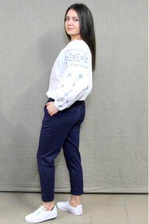 Вишиванка «Василина» білого кольору з блакитним